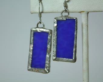 Royal Blue Stained Glass Earrings