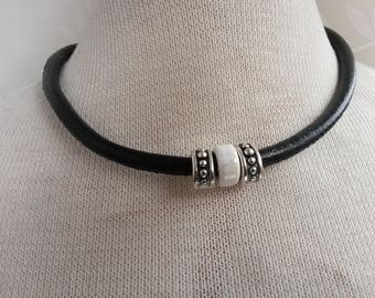 Leather Choker Necklace, Black Choker Necklace, Thick black leather necklace with ceramic bead in white for her