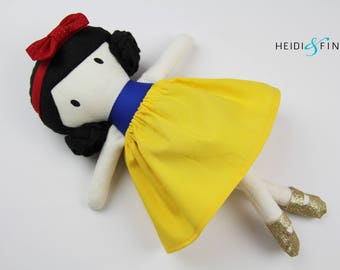 LIMITED EDITION snow white Mini Pals soft rag doll keepsake gift OOAK ready to ship blue gold yellow
