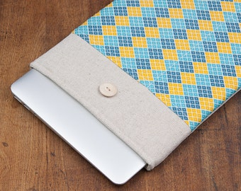 "30% OFF SALE White Linen MacBook 11"" Air Case with yellow blue rhombus pocket. Case for MacBook 11 Air. Sleeve for MacBook Air 11"""