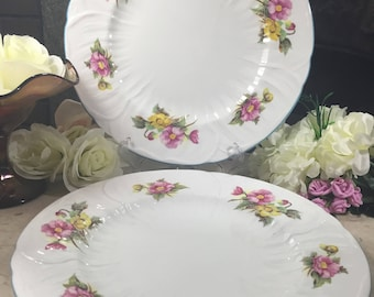 Shelley Fine Bone China Begonia Dinner Plates, Vintage Shelley Begonia Dainty Shape Dinner Plate, Set of 6 Shelley Dishes, Made in England