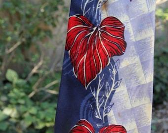Vintage Leaf Pattern Short Necktie, men's or boys