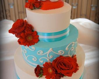 Romantic Bird Wedding Cake Topper - High Fashion Love Birds Decor Large - Colors of Choice