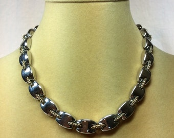Gold And Silver 1980's Vintage Necklace