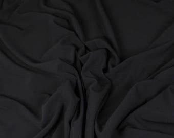 Genuine silk crepe fabric, black