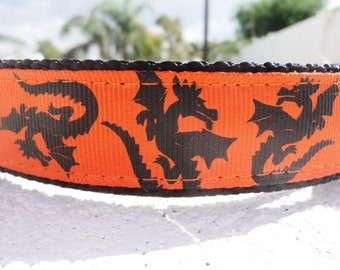 """Dog Collar Dragons 1"""" wide Side Release buckle or Martingale collar adjustable"""