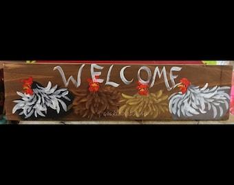 "5.5"" X 21"" #223 Chicken Art Sign Folk Art Chickens Original Painting"