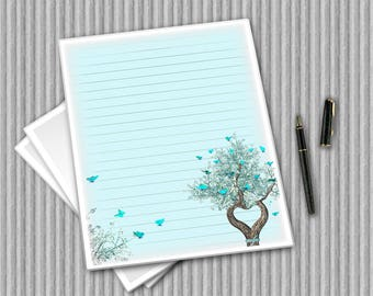 Digital Stationary - Writing Paper - Printable Journal Pages - Aqua paper set - Heart Tree Notepaper - Flower Paper - printable paper