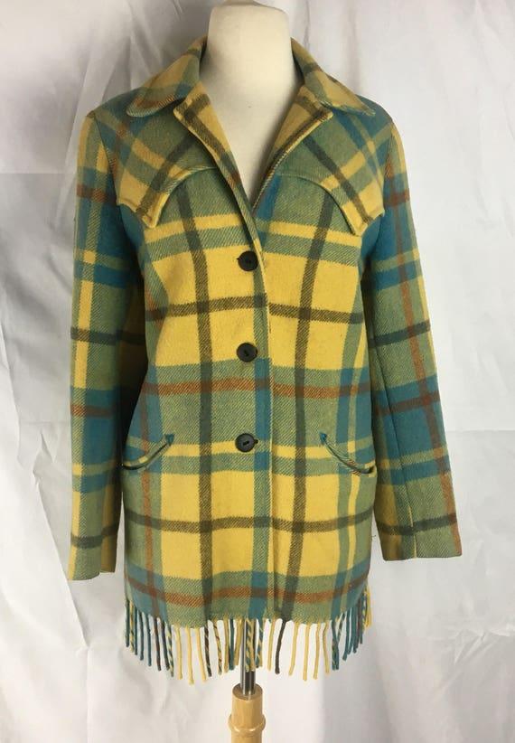 Vintage Checked Wool Yellow, Black, Turqouise Western Coat w Fringe