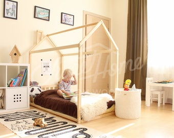House bed Toddler bed home Frame bed Original bed Home bed Floor bed Baby bed Nursery home design Children bed Kids bedroom SLATS HEADBOARD