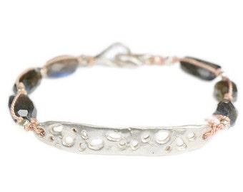 Labradorite Sterling Crater Silk Cord Bracelet Organic Modern Primitive
