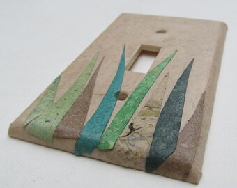Grass wall decor Upcycled Light Switch Plates, handmade paper from reclaimed materials, earth friendly wall art-Recycled Handmade Paper