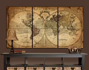 Globe Tan Map World Map Canvas, Vintage Map set, Large wall art, canvas wall art, vintage art, Map of World, Large art, Canvas Map