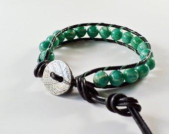 Leather Beaded Single Wrap Bracelet Turquoise Glass Beads