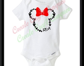 Minnie Mouse head with bow Disney personalized name onesie.  Custom Minnie name.  Custom Disney onesie bodysuit.  Free shipping.  Gift.