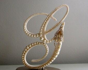 Cake Topper Monogram Gold Letter Pearl G, Rhinestone Earring, Gatsby Cake Topper, Art Deco Letter G, Rustic Wedding, Bridal Shower Gift