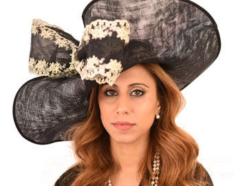 Black & Gold Hat for Kentucky Derby, Weddings