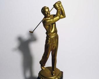 Vintage 1950 - 60's Metal And Wood Figural Golf Trophy Never Engraved
