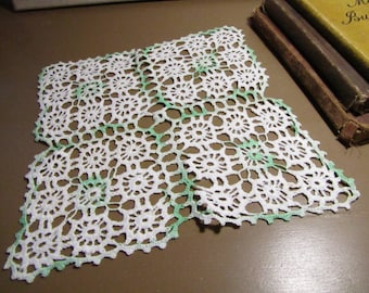 Vintage Crocheted Doily - Four Square Panels - Light Green Variegated Accent