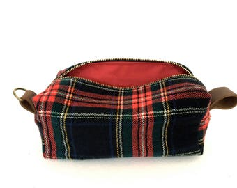 """Medium Toiletry Bag from Vintage Stewart Plaid Suit with Leather - """"The Ralph"""""""