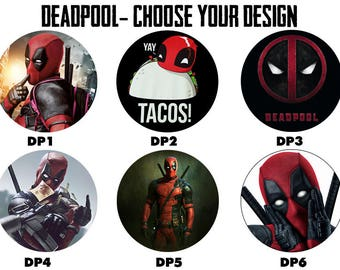 "DEADPOOL 2.25"" Button Style Pins, Mirrors, Magnets, Bottle Openers & Keychains"