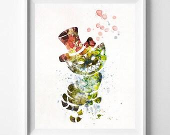 Cheshire Cat, Cheshire Cat Print, Alice Wonderland Art, Alice Print, Disney Poster, Wedding Gift, Nursery Poster, Type 2, Fathers Day Gift