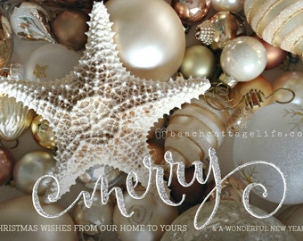 COASTAL Christmas Cards Beach Holiday Starfish Gold Silver Seaside Glitter Effect Ornaments 5x7 set/10 single side w/envelopes