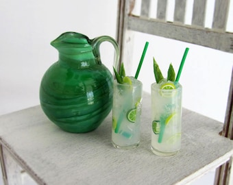 Miniature MOJITO Drink Set with OOAK Blown GLASS Pitcher and 2 Tall Glass Cylinder Glasses for 1:6 Scale Fashion Dolls & Action Figures