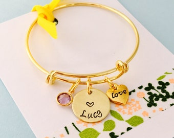 Kids Name Bracelet, Personalized Kids Bracelet, Little Girls Bracelet, Young Girl Jewelry, Gold Bracelet, Kids Bangle Bracelet
