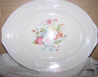 Vintage floral serving platter, Homer Laughlin, Georgian Eggshell, H44N5