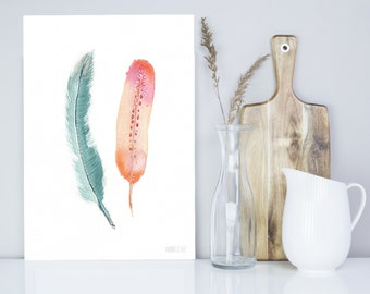 Feather watercolor art print. Green and pink peach bird feather watercolor art - watercolour feather painting - giclee art by Annemette Klit
