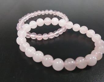 Rose Quartz stretch beaded bracelet 8mm or 6mm beads
