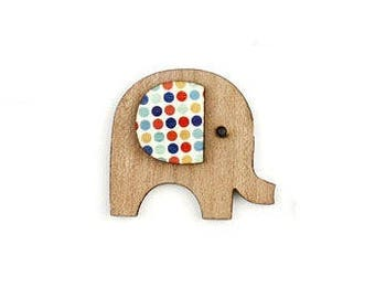 Elephant ear + natural wooden printed wood (dots). Not drilled.