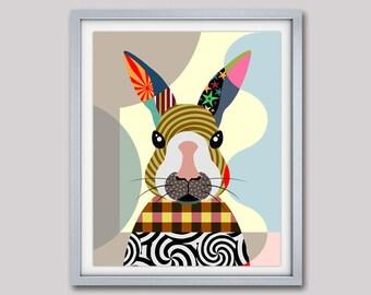 Bunny Art Print, Bunny Poster, Bunny Painting, Bunny Decor, Bunny Gifts, Rabbit Print, Rabbit Art Print, Rabbit Painting