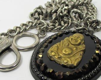 Large Gold Buddha Pendant Necklace