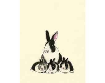 Bunny Rabbit art print -  Rabbit Family Portrait  -  4 X 6 print - 4 for 3 Sale