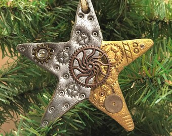 Steampunk Star Holiday Ornament - Industrial Christmas Tree Home Decor Polymer Clay Mixed Media style 4