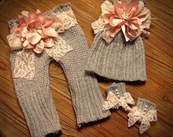 Newborn Girls Photo Prop Upcycled Sweater Pant Set