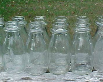 Group of  Twelve 1950s-60s Half Pint Size Plain Round Dacro Top Milk Bottles , Great for Wedding Decor