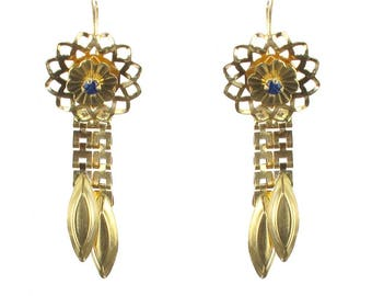 Vintage Sapphire gold earrings