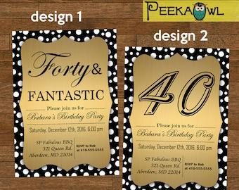 Printable 40th Birthday Invitation card - Forty & Fantastic birthday invitation - DIY Dots 40th Birthday Invites - 40th birthday party!!!