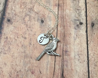 Cardinal initial necklace - cardinal jewelry, bird jewelry, birdwatcher necklace, bird necklace, woodland necklace, silver cardinal necklace