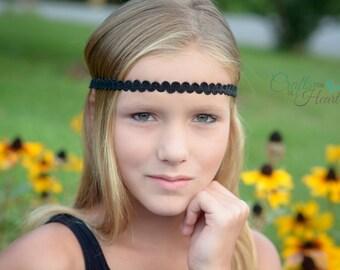 Black Boho Headband - Boho Headband - Bohemian Headband - Black Headband - Hippie Headband - Gypsy Headband - Black Headband - Halo Headband