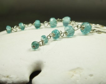 Natural Blue Apatite Earrings/  Faceted Apatite Dangle Earrings/ Sterling Silver