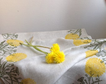 "Block printed linen table runner ""Dandelion"""