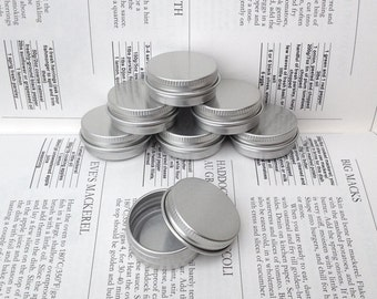 Small Metal Tins, Blank Round Silver Color, 15ml Screw Lidded (A Set Of 20 Boxes)