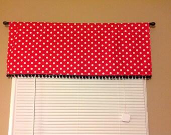 Valance/Curtain 42W x 15L in Red/White Polka Dot W/ Black Pom Pom Trim