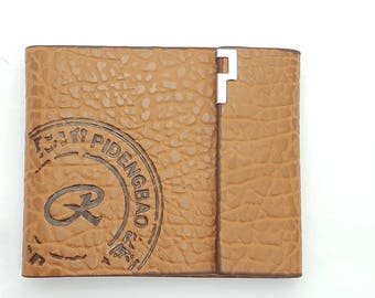 Mens real leather tan wallet for credit cards, I'D and banknotes