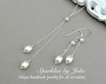 Isadora Pearl Set - Pearl Lariat (Y-Style) Necklace & Pearl Dangle Earrings, Jewelry Set, Freshwater Rice Pearls, Bride, Bridal Party