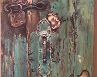 Blue door oil painting